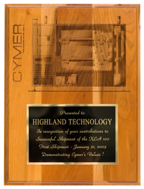 Plaque from Cymer, Inc.